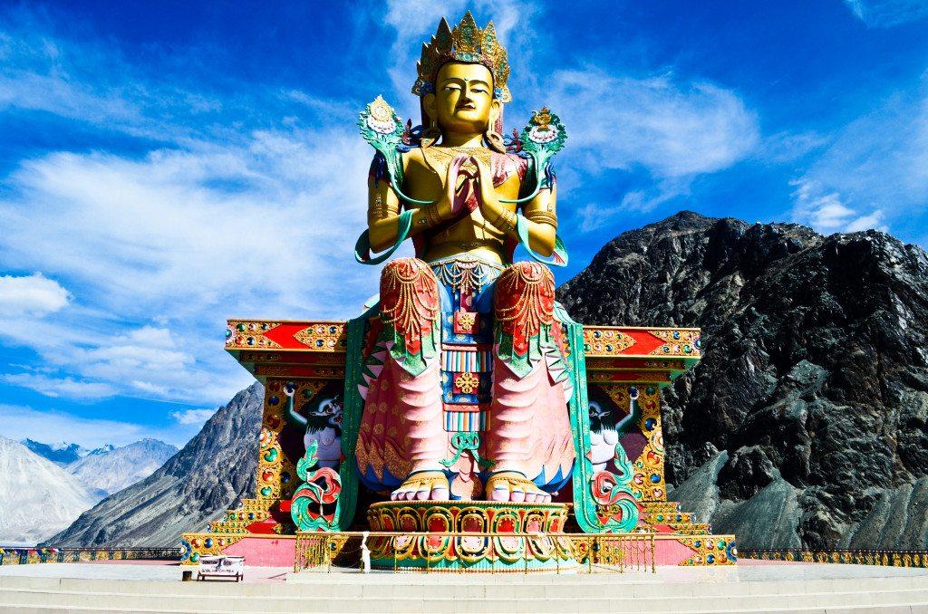 32 metre statue of Maitreya Buddha near Diskit Monastery facing down the Shyok River, Nubra Valley, Ladakh