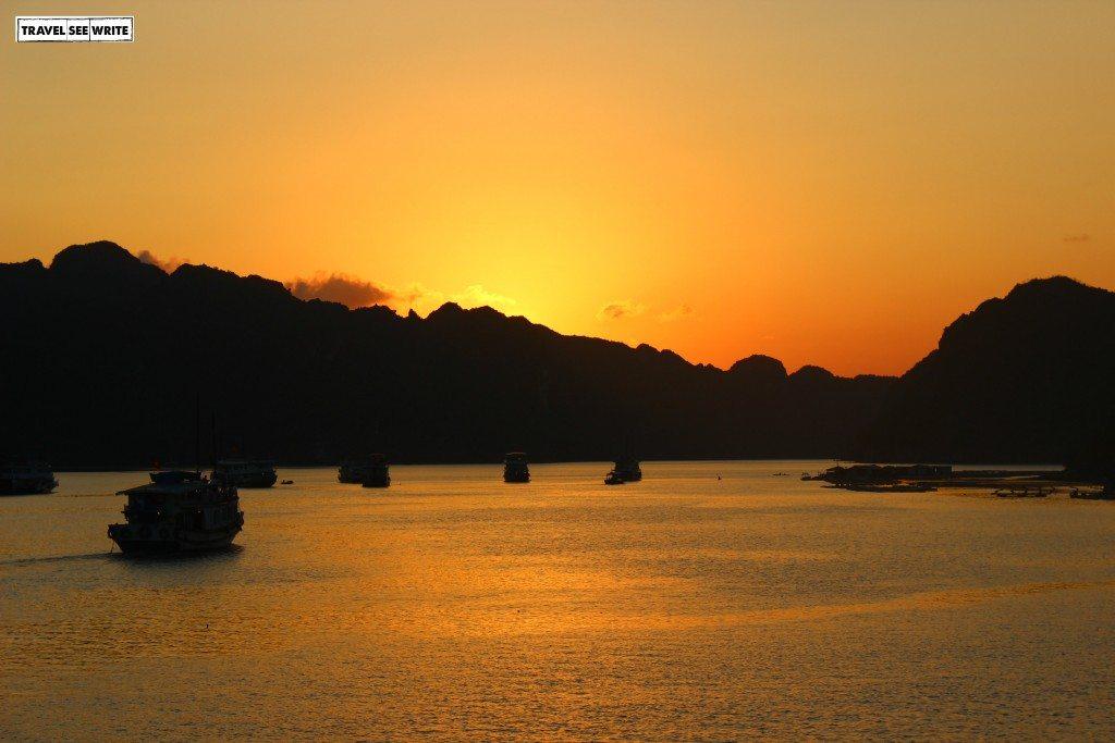 Visit Vietnam to see Sunset at Halong Bay