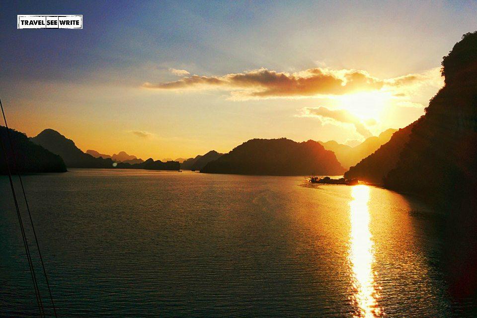 Halong Bay Sunset with logo