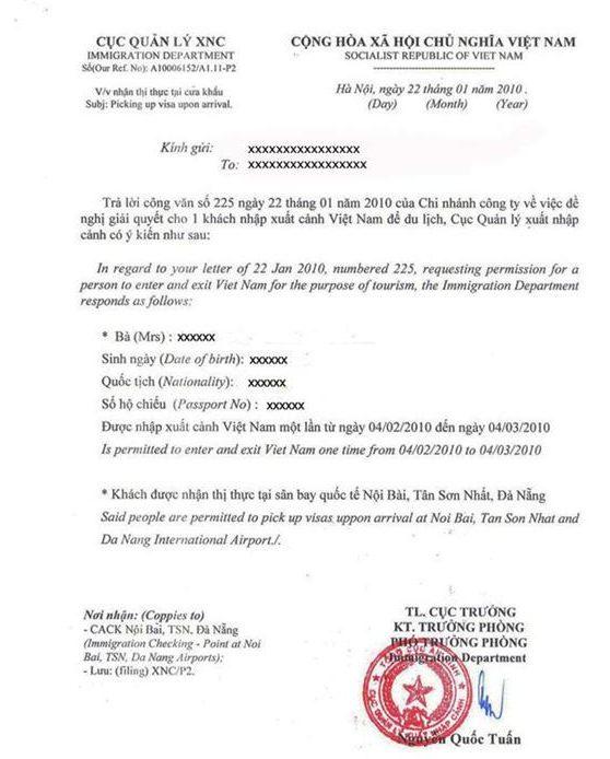 Visa Approval letter sample