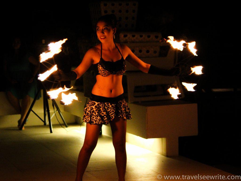 Fire dancer, Costa Pacifica, Baler