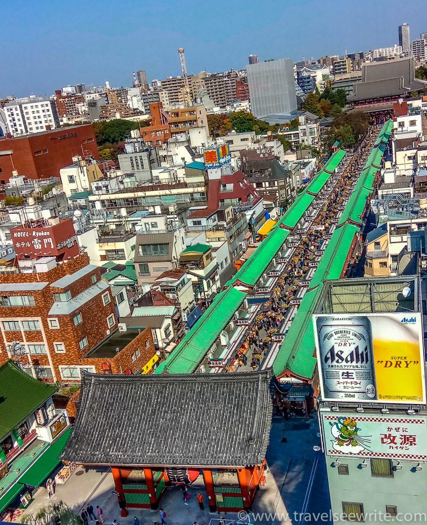 Aerial view of the Thunder Gate leading to Sensō-ji shrine via Nakamise Market, Asakusa, Tokyo