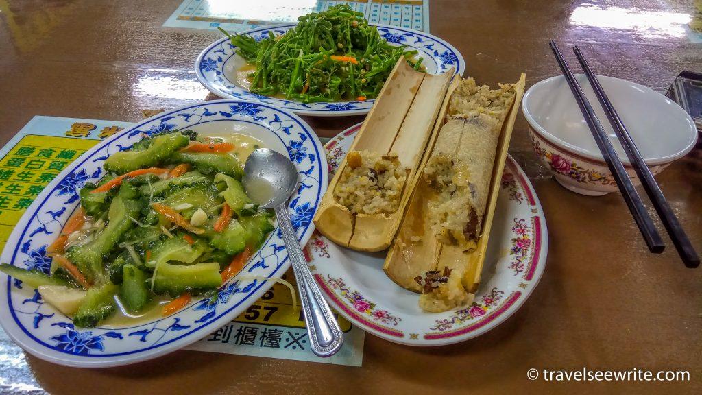 Aboriginal food at Wulai local market, Taiwan