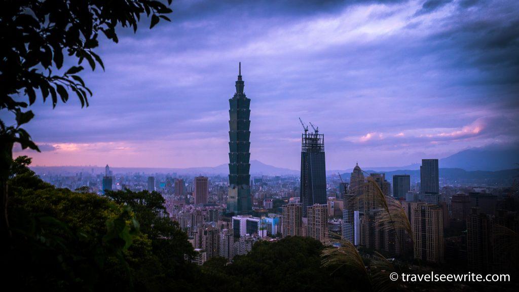 The landmark Taipei 101 skyline as seen from the Elephant Mountain, Taipei, Taiwan