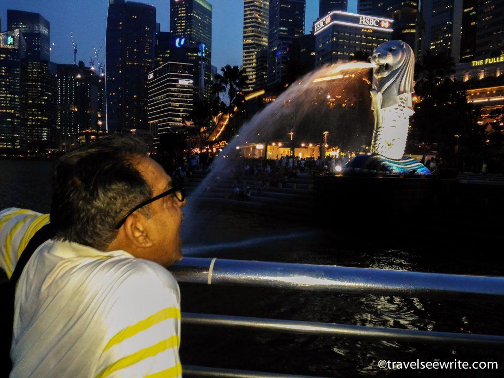 My dad at Merlion, Marina Bay, Singapore