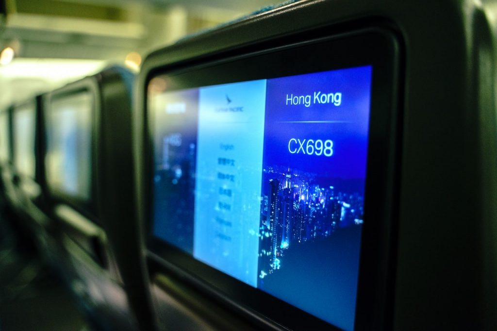 In-flight entertainment: nine-inch touchscreen TV loaded to fuel your binge-watching