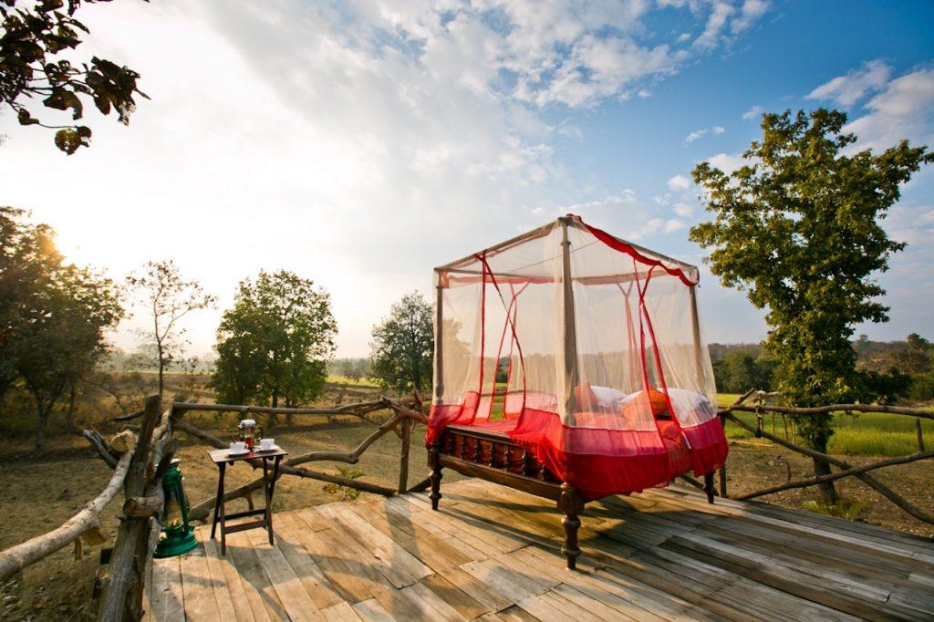Star bed at Jamtara Wilderness Camps, Pench National Park, Madhya Pradesh, India