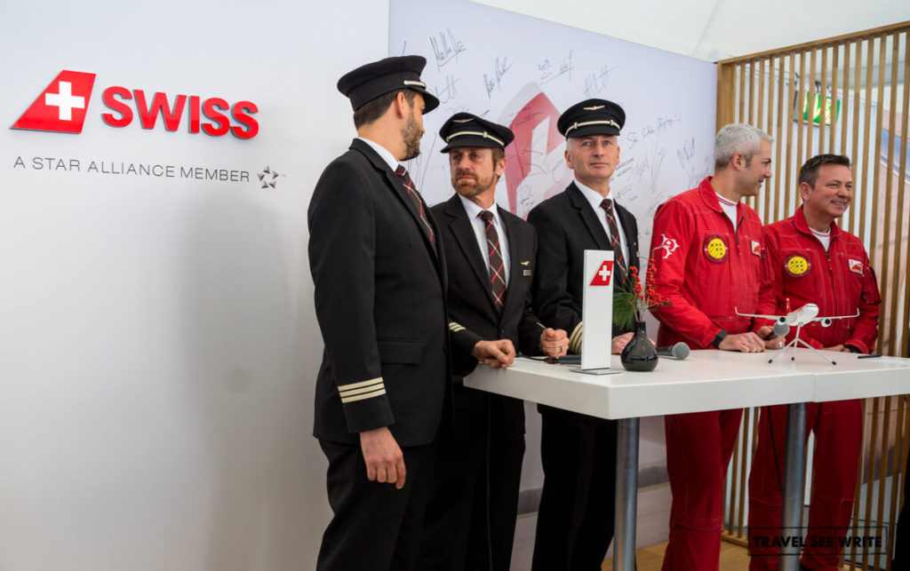 The Swiss Airbus and Patrouille Suisse pilots who performed the Air Show at the Lauberhorn Ski World Cup, Switzerland