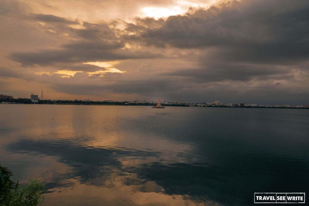 Golden hour at Hussain Sagar Lake, Hyderabad