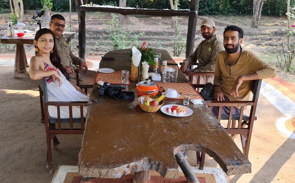 Enjoy the garden breakfast at Kings Lodge, Bandhavgarh, MP