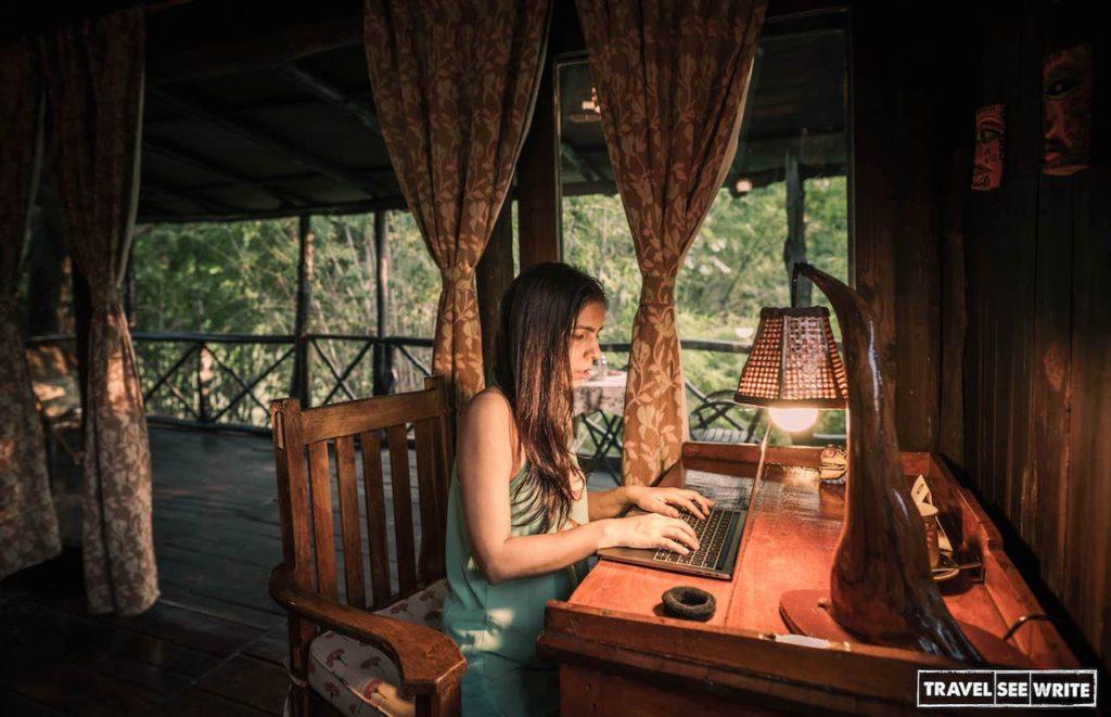 Enjoying my Work from Wilderness at Pugdundee Safaris Treehouse Hideaway, Bandhavgarh