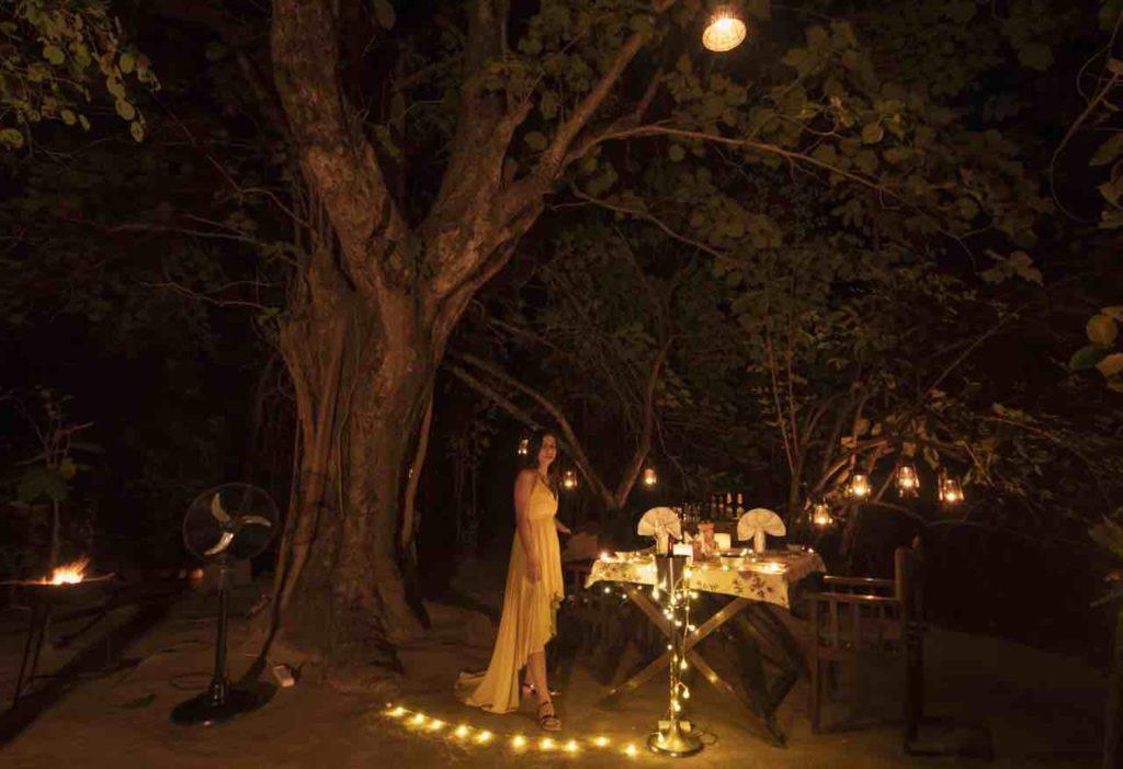 Enjoying the Bush Dinner under the gigantic Haldu Tree