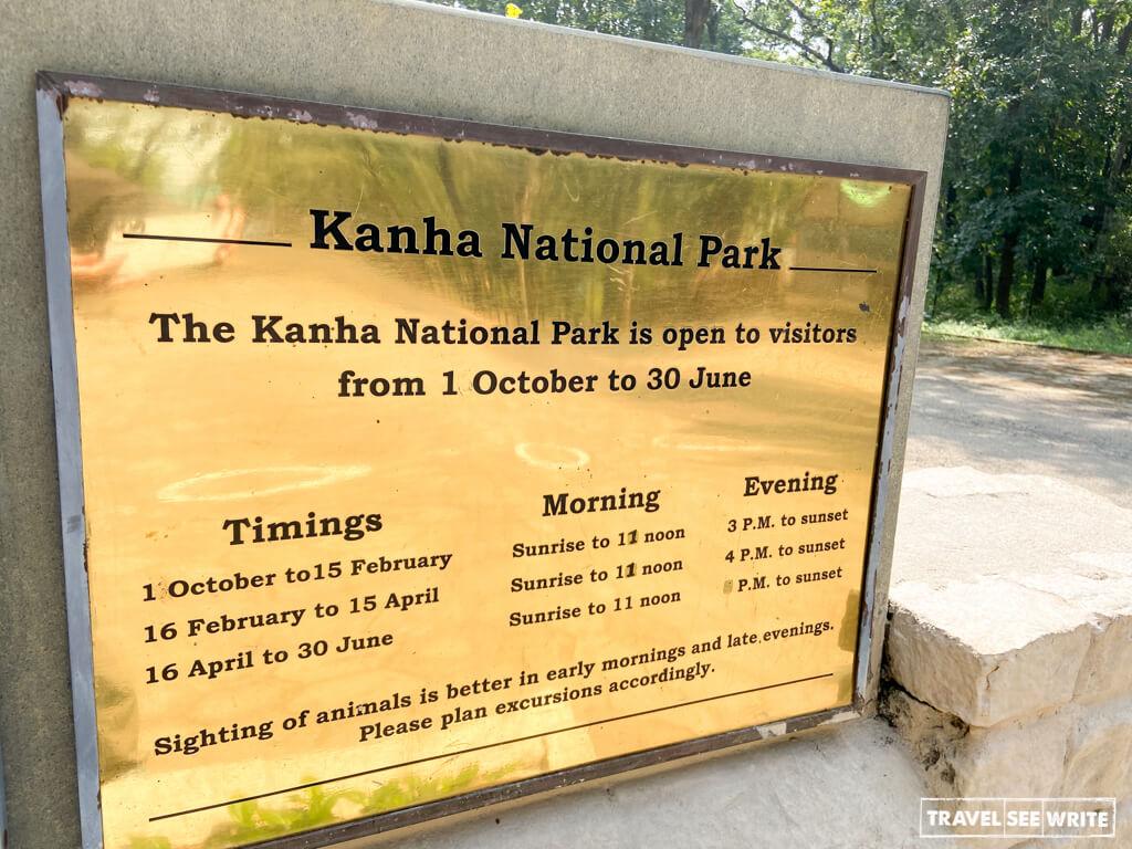 Jungle Safari timings at Kanha National Park