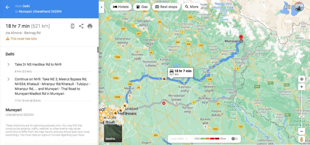 Delhi to munsiyari route via Almora, Nainital
