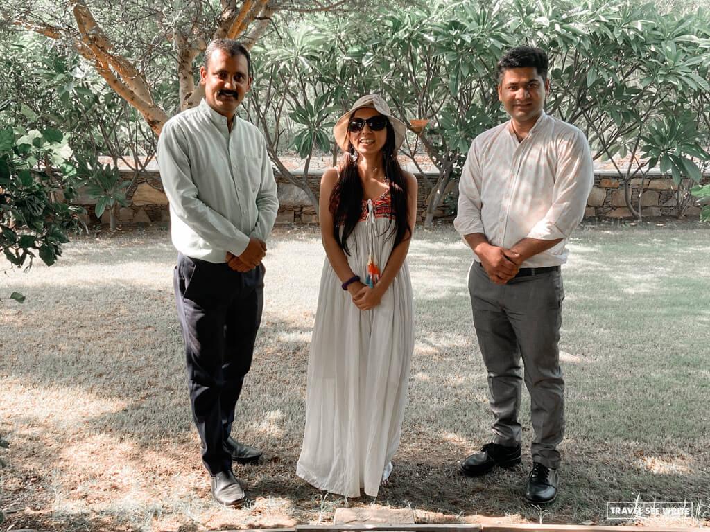 With Mahendra and Jitendra of Tree of Life, Udaipur Resort.